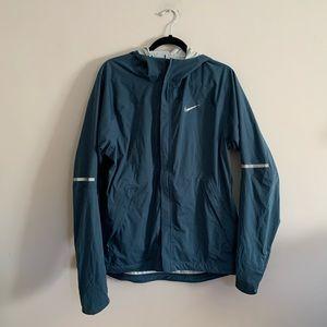 Nike Mens Medium Rain Coat Jacket Blue Full Zip